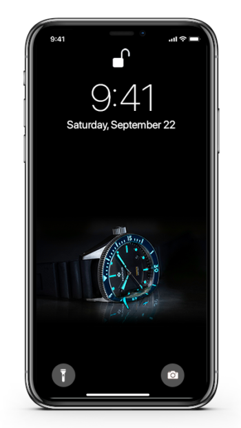 A mockup of the Nodus Trieste wallpaper on an iPhone X