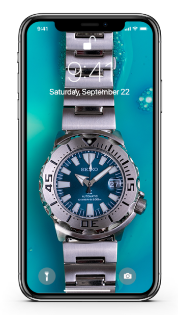 A mockup of the Seiko Jade Monster Wallpaper on an iPhone X