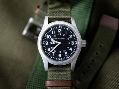 The Hamilton Khaki Field Mechanical on its excellent stock NATO strap