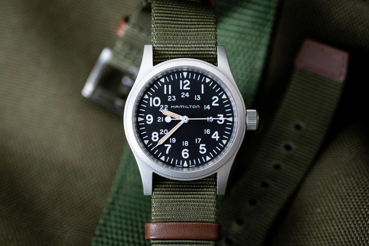 The Hamilton Khaki Field Mechanical on its excellent stock NATO strap