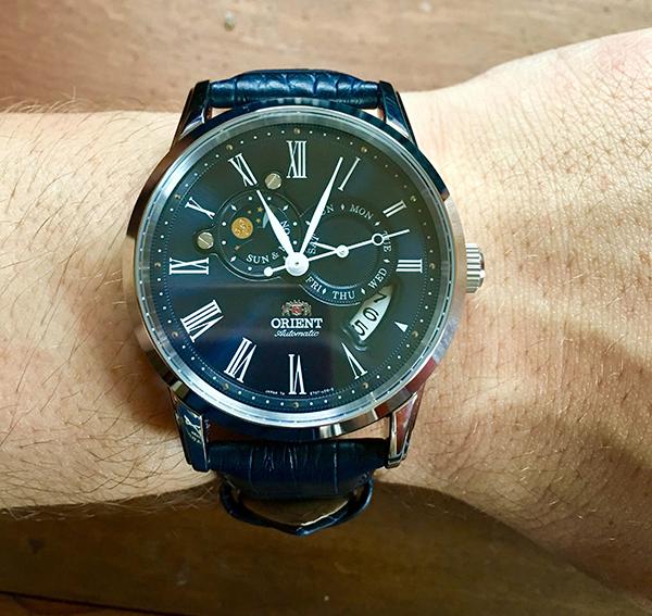 The Orient Sun & Moon blue dial wrist shot