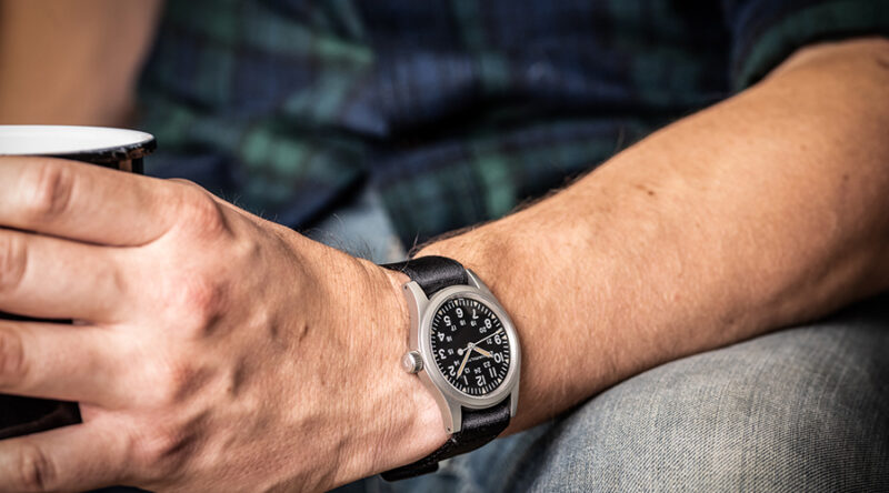 The Hamilton Khaki Field Mecahnical is the perfect weekend watch and will go with just about any outfit