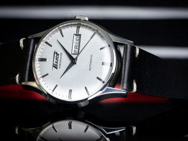 The silver dial Tissot Visodate on black leather