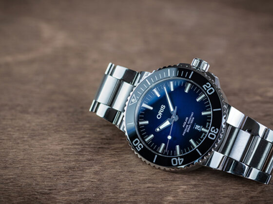Oris Aquis 43.5mm with a sunburst blue dial on its stock bracelet