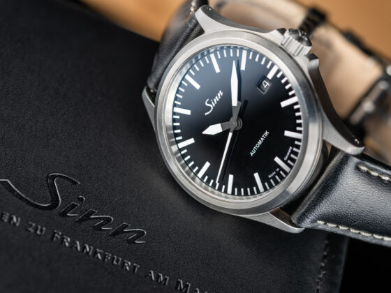 The Sinn 556 featured a minimalist black dial with white markers and hands